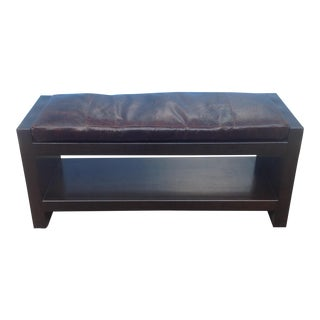 Modern Designer Ottoman With Brown Leather Cushion