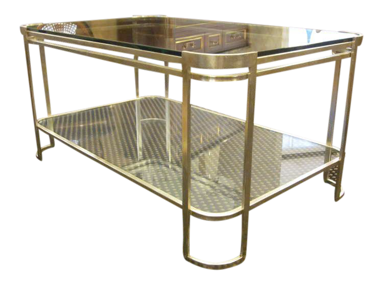 Elegant Italian Silver Leaf Double Level Cocktail Table   Image 1 Of 5