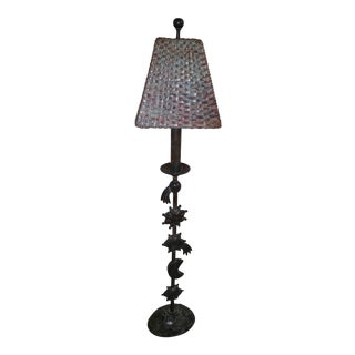 Theodore Alexander Celestial Design Patinated Lamp With Shade For Sale