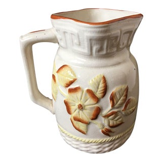 Antique Majolica Yellow Brown Floral Pitcher For Sale