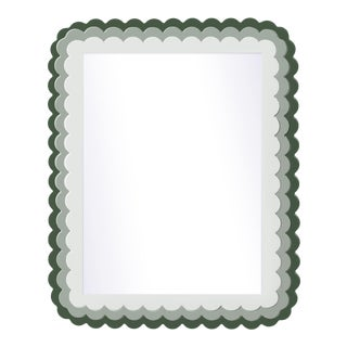 Fleur Home x Chairish Carnival Krewe Rectangle Mirror in Duck Green, 30x40 For Sale