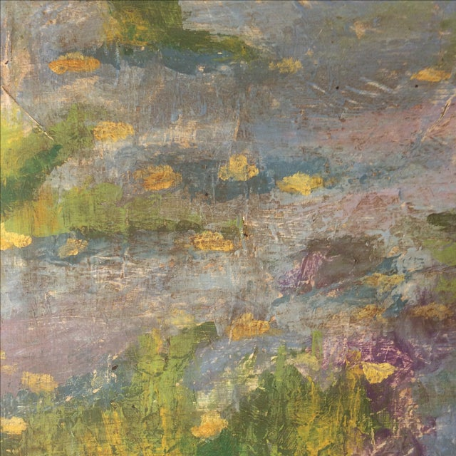 Impressionist Lily Pad Painting - Image 6 of 8