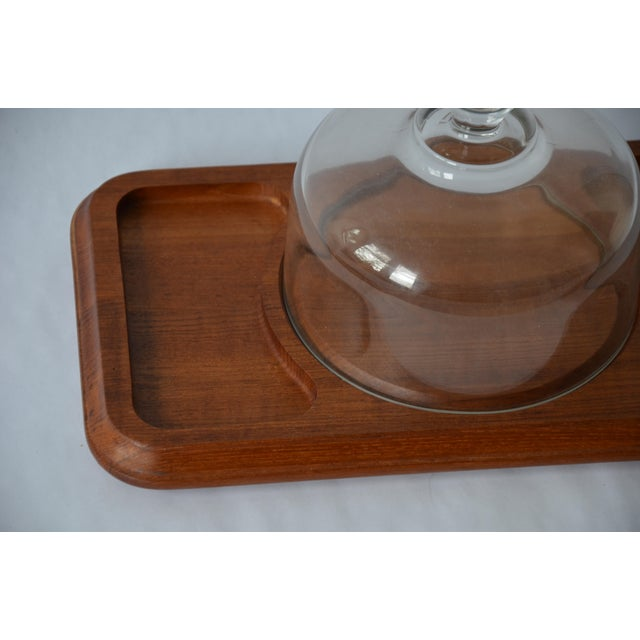 Vintage Danish Modern Teak Cheese Serving Board with glass cheese dome by Good Wood. Sectional board with cheese in the...