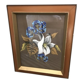 1980s Framed Lily Painting For Sale