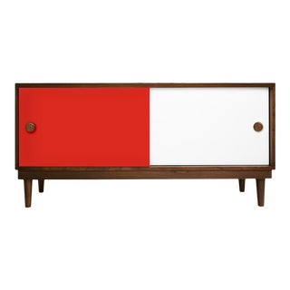 Lukka Modern Kids Credenza Console in Walnut With Red Finish For Sale