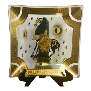 Mid Century Modern Fred Press Gold Guild Glass Plate of Trojan Horse For Sale