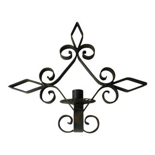 Vintage Mediterranean Wrought Iron Wall Sconce For Sale