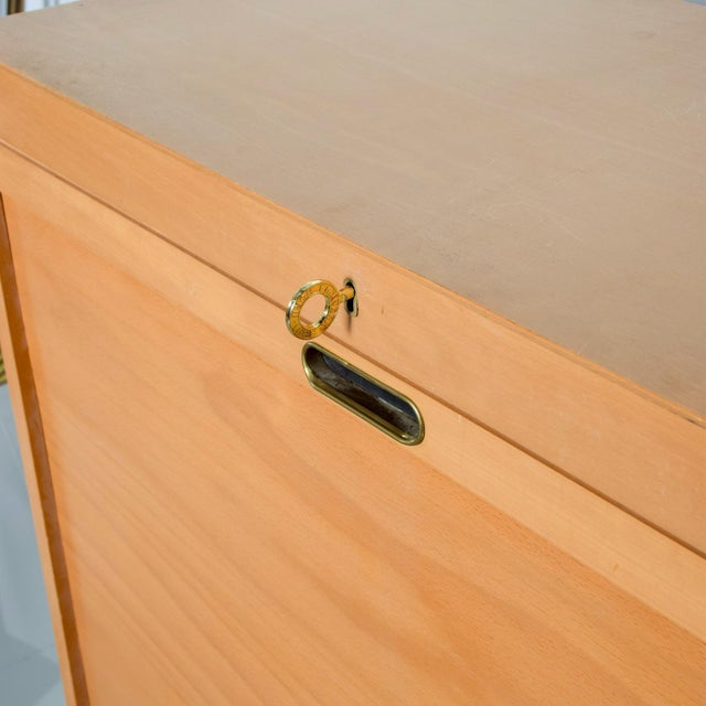 Tan Bauhaus Filing Cabinet Locking Tambour Door by Adolf Maier Germany For Sale - Image 8 of 11