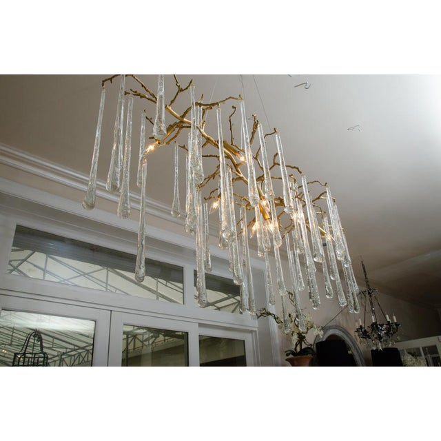 Gilt Metal Chandelier With Crystal Drops For Sale - Image 9 of 10