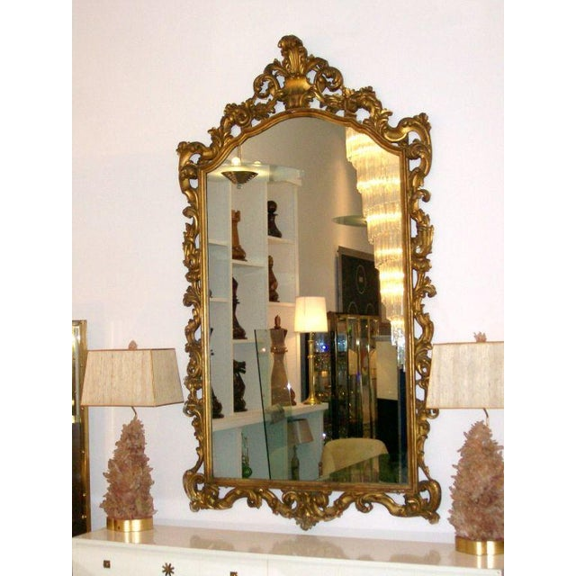 Gold Gilt Carved Wood Palatial Mirror For Sale In Miami - Image 6 of 6