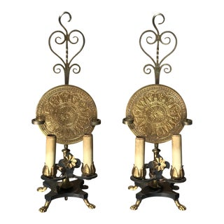 Iron and Bronze Lamps - A Pair
