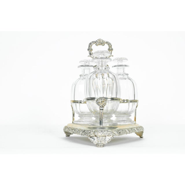 Sheffield Old English Sheffield Silver Plated Decanter Bottles & Caddy - Set of 4 For Sale - Image 4 of 5