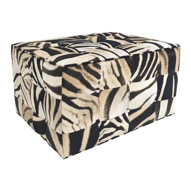 Forsyth One of a Kind Patchwork Zebra Hide Ottoman For Sale