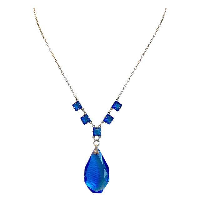 1920s Sterlilng Silver and Blue Faceted Glass Pendant Necklace For Sale