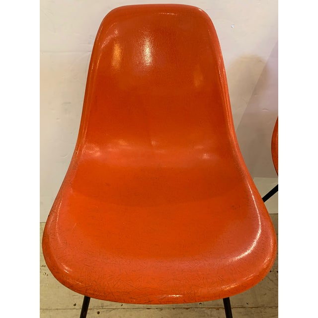 Charles Eames Set of 3 Bright Orange Mid Century Modern Shell Eames Chairs For Sale - Image 4 of 13
