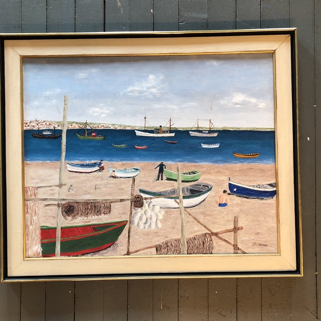 Blue Mid Century Naive Boating Beach Scene. Painting For Sale - Image 8 of 8