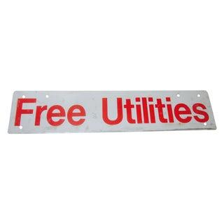 Vintage 'Free Utilities' Industrial Metal Red Sign