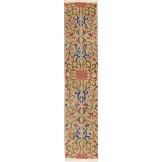 "Tibetan Lotus Flower Wool Runner Rug - 2'7"" X 12'3"" For Sale"