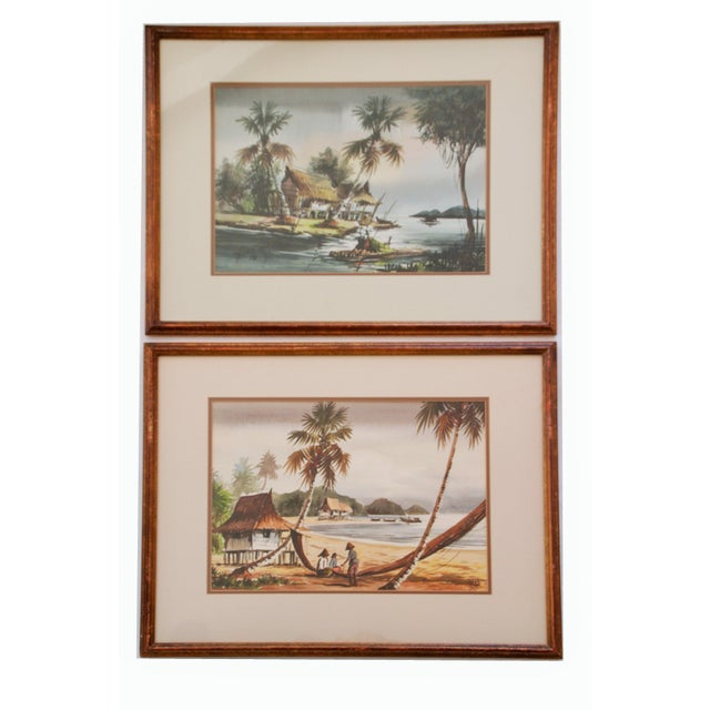 Vintage Polynesian Watercolor Paintings - A Pair For Sale - Image 4 of 7