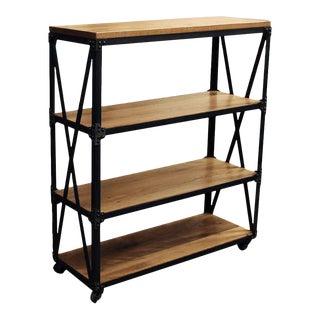 Oak & Steel Three Shelved Bookcase