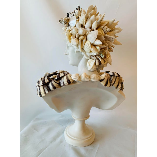Figurative Medium Apollo Shell-Encrusted Bust For Sale - Image 3 of 6