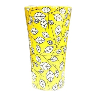 Yellow/Black Leaf Pattern Mid-Century Vase For Sale