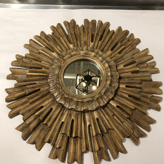 Gilded Sunburst Wall Mirror For Sale In Houston - Image 6 of 6