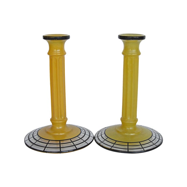 Art Deco Yellow Glass Candlesticks - Pair For Sale