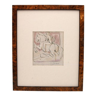 Pen & Ink Wash Drawing by Georges Braque - Man on Horseback Riding Over Vanquished Enemy For Sale