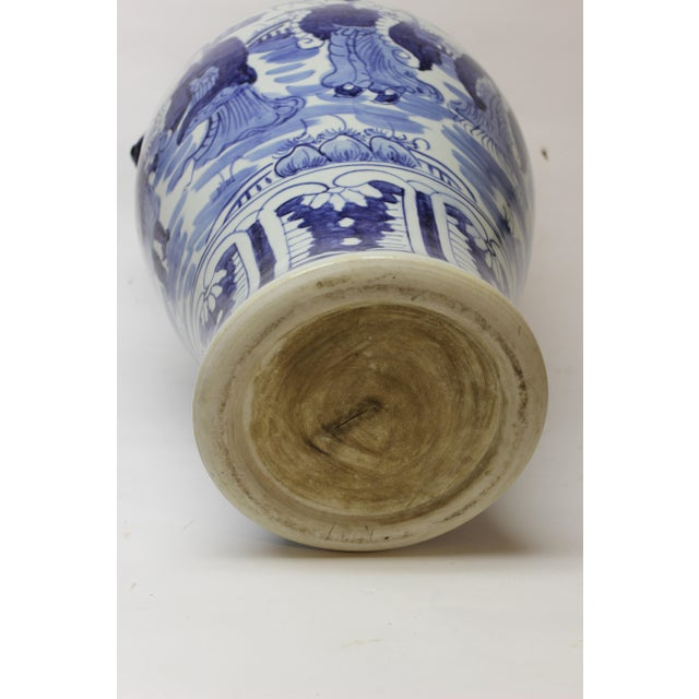 Large Chinese Blue and White Covered Jar For Sale - Image 9 of 12