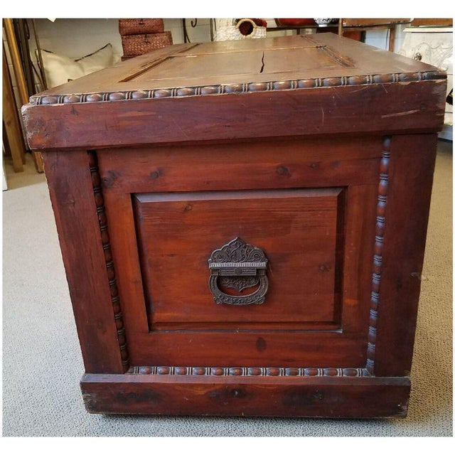 Brown 19th Century Antique Victorian Carved Panel Cedar Chest For Sale - Image 8 of 12