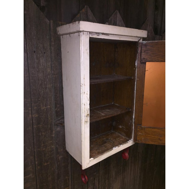 Vintage Cottage Chic White Mirrored Medicine Cabinet - Image 5 of 11