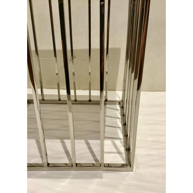Modern Regina Andrews Gray Bone and Chrome Square Accent Table For Sale - Image 4 of 6