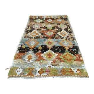 "Vintage Turkish Antalya Kilim Rug-4'11'x8'2"" For Sale"