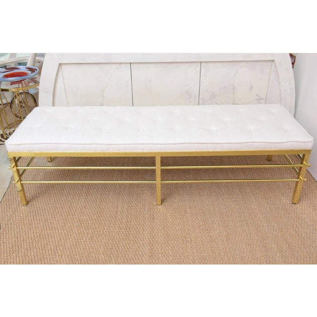Stunning Tommi Parzinger Style Solid Brass and Upholstered Rare Modernist Bench - Image 2 of 9