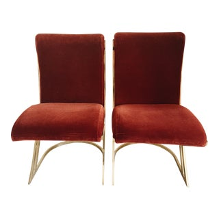 Late 20th Century Pierre Cardin Z Cantilever Velvet Dining Chairs- A Pair For Sale