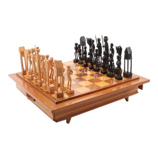 Malagasy Hand Carved Wooden Chess Set For Sale