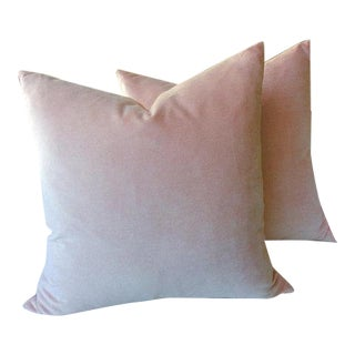 Blush Pink Velvet Pillows - A Pair For Sale