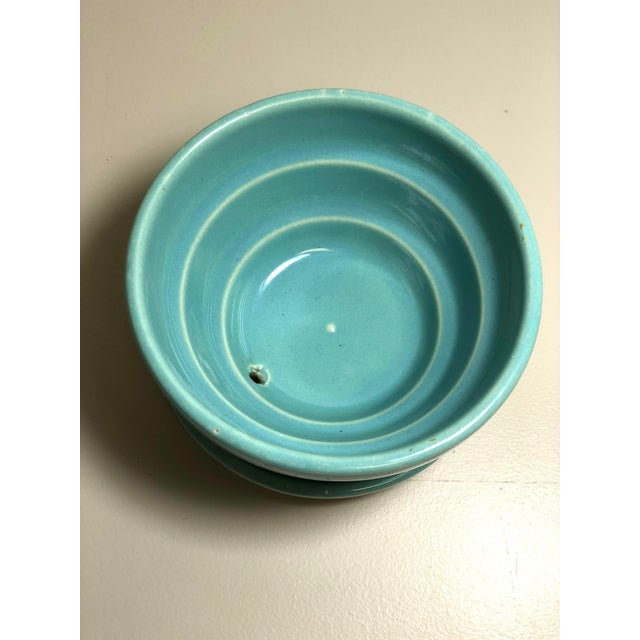 """McCoy Pottery 1940s - 1960s """"Teal"""" Mid Century Flowerpot And Attached Saucer Violet Flower Design, Small, Teal Blue glaze..."""