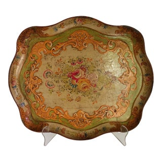 Vintage Country French Raised Relief Floral Design Composite Tray Made in Japan