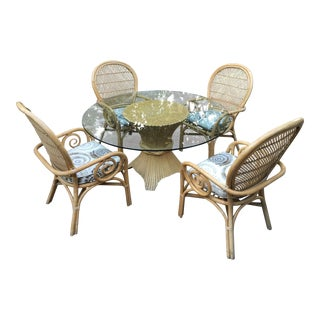 McGuire Sheaf on Wheat Round Glass Top Dining Table & Armchairs