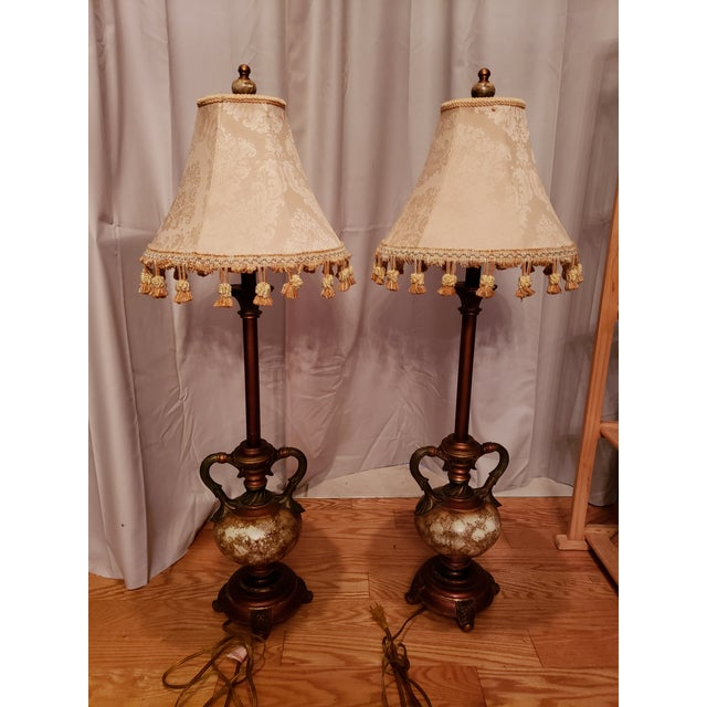 Vintage Buffet Lamps With Cloth Shades and Fringe - a Pair For Sale - Image 10 of 10