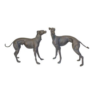 Bronze Whippet Statues - a Pair