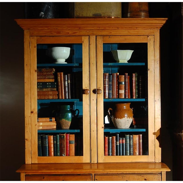 English Traditional Pine Bookcase Cupboard with Drawers For Sale - Image 3 of 7