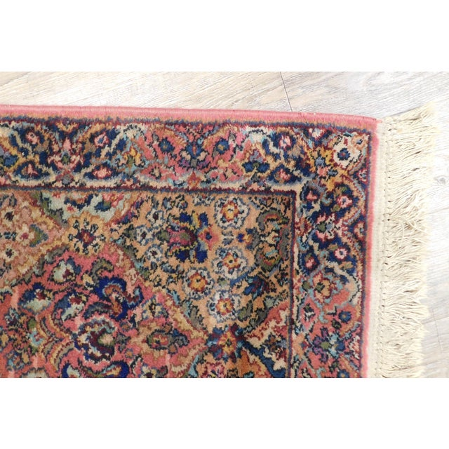 Red Karastan Kirman Fringed Rug #717 4' x 2' Salmon Pink Background Area Throw Rug For Sale - Image 8 of 13
