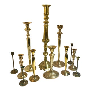 Vintage Brass Candle Holders Large Wedding Holiday Mantle Candlesticks - Set of 12 For Sale