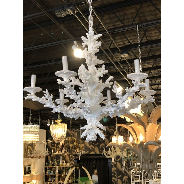 Shell Vintage Palm Beach Tropical White Faux Coral 6 Light Chandelier For Sale - Image 7 of 11