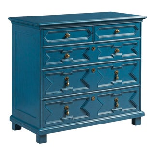 Casa Cosima James 17th Century Style Chest in Blue Danube For Sale
