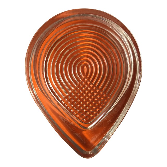 Vintage Art Deco Clear Glass Teardrop Ashtray - Image 1 of 3