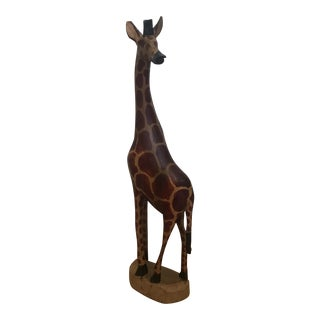 Vintage Hand Painted Carved Wooden Giraffe Statue For Sale
